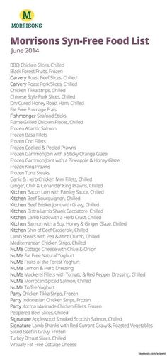Slimming world for those who shop at Morrison's here is a syn free food list! Slimming World Shopping List, Slimming World Syn Values, Slimming World Recipes Syn Free, My Slimming World, Shopping Lists, Slimming Word, Slimming Eats, Syn Free Food, Morrisons