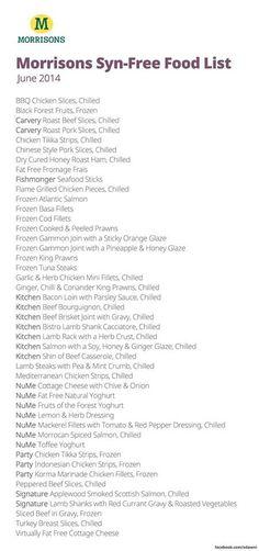 Morrisons Syn Free Food
