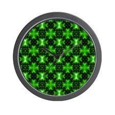 Vibrant Green Fractal Crosses Wall Clock