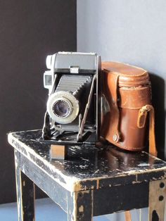 Vintage Kodak folding camera with a leather case by justynamrugala, $42.00 http://minivideocam.com/choosing-the-right-digital-recording-camera-for-you-and-your-family/