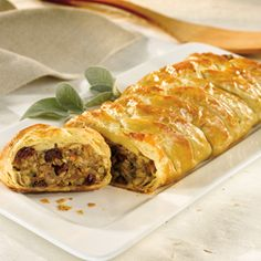 Sausage, stuffing and cranberries in puff pastry
