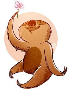 Sloth by Chelsey Holeman Sloth Bear, Baby Sloth, Cute Sloth, Sloth Drawing, Bear Drawing, Animals For Kids, Cute Animals, Illustrations, Illustration Art