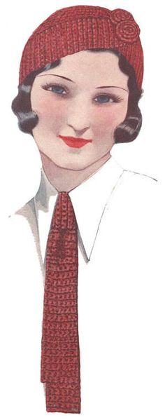 I am totally going to make a matching crocheted cloche cap and tie. vintage crochet hat and tie