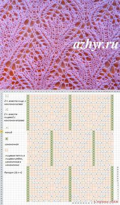 Нежный ажурный узор спицами   АЖУР - схемы узоров