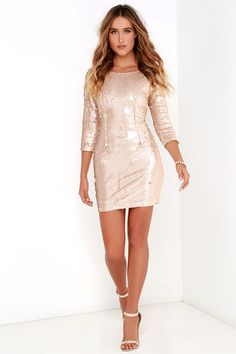 Swimming in Shimmer Matte Gold Sequin Dress at Lulus.com!