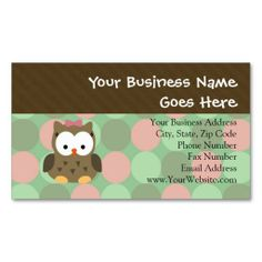 Childrens entertainer business cards education pinterest cute brown owl wpink bow business card template colourmoves