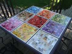 upcycling collage tiles from catalogs=new table Mosaic Tile Table, Tile Tables, Fun Crafts, Diy And Crafts, Arts And Crafts, Paper Crafts, Paper Art, Magazine Collage, Magazine Crafts