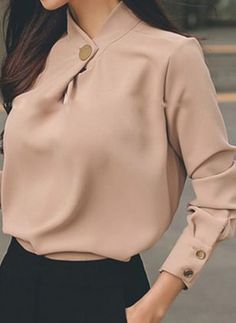 Solid Casual Oblique Neckline Long Sleeve, Blouses - Apricot / XL Source by floryday blouses classy Workwear Fashion, Fashion Outfits, Hijab Fashion Summer, Classy Work Outfits, Xl Shirt, Stylish Shirts, Collar Blouse, Blouse Designs, Blouses For Women