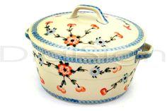 Polish Pottery Stoneware BAKER W/COVER W/HANDLES