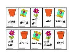 Free! Plant a Seed Irreg. Verbs....thirty past, present, and future tense irregular verb cards. Use this activity for Earth Day, or for a fun spring activity!