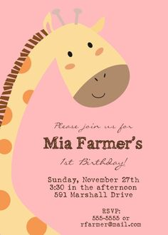 Giraffe Birthday Party Invitation.