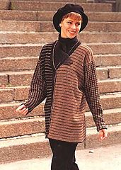 Ravelry: 54-19 Cardigan in Silke-Tweed with stripes and squares pattern by DROPS design