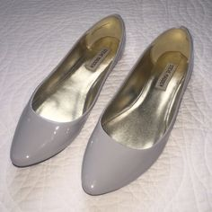 Steve Madden light gray flats Patent leather. Worn one time. Great condition. Steve Madden Shoes Flats & Loafers