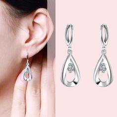 Free Shipping  New Sale  silver plated earings fashion jewelry Teardrop-shaped  drop brinco bijoux femme