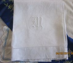 Vintage Meticulous Monogram M Linen Large Damask by angelinabella