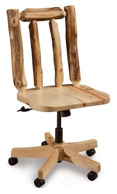 Amish Rustic Log Desk Chair Authentic log furniture for your home office! Select pine, aspen or cedar log wood for this chair. Easily adjusts with a gas lift feature.
