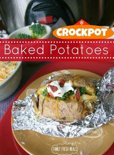Crockpot Baked Potatoes with baked potato bar | A super fun and easy family dinner idea! - FamilyFreshMeals.com