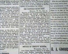 """Historic Newspaper with coverage of the Hatfield-McCoy feud: Fitchburg Sentinel, Fitchburg, Massachusetts, November 2, 1889  """"The Hatfield-McCoy Feud"""""""