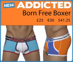 The Addicted Born Free boxer is part of the new SS14 collection from Spanish brand Addicted. The collection features a range of bold designs to brighten up your Summer months.  The boxer is a new multi-colored design, including a new 'born free' waistband. It is available in breathable mesh to help keep you cool and dry or in cotton. The mesh boxer has a cotton pouch with a fly opening. The cotton boxer has mesh pockets. The widened front pouch provides extra room and some frontal enhancement