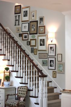 "forever*cottage: Gallery wall..I am so doing this! Love the mix of family photo's, art, letters, different frame finishes, and sconces! Love that they start at the baseboard of the stairs also. The wall color is Benjamin Moore's ""Halo"".  Trim paint is  Benjamin Moore ""White Dove"""
