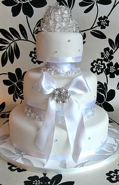 White wedding cake with edible diamonds