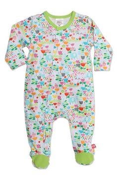 Zutano Floral Print Cotton One-Piece (Baby Girls) available at #Nordstrom