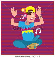 Vector illustration fun young boy listening and enjoying music - stock vector