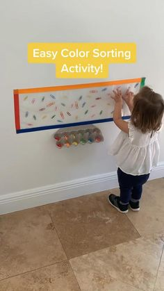 Creative Activities For Toddlers, Young Toddler Activities, Infant Activities, Sorting Activities, Preschool Learning Activities, Kids Learning, Diy Montessori Toys, Baby Sensory Play, Summer Camps For Kids