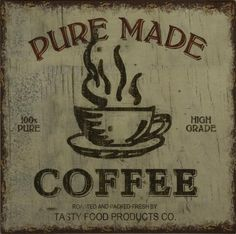 Vintage Style Shabby Chic Pure Made Coffee Tin Metal Wall Plaque / Art / Sign
