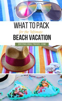 Beach vacation packing list with good ideas for outfits, swimwear, skin protecti.