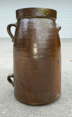 15.5in tall. Southern Pottery two handled 3 gallon jar alkaline glaze Alabama antique crock #unkown