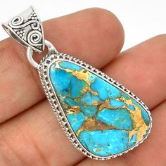 Copper-Blue-Arizona-Turquoise-925-Sterling-Silver-Pendant-Jewelry-SP189641
