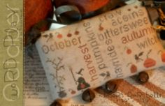October's Word Play-october's word play, cross stitch, brenda gervais, with thy needle & thread