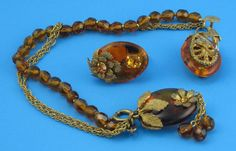 Rich Amber Brown MIRIAM HASKELL Bracelet Set Warm by EyeImpact