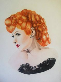 Lucille Ball Coloured Pencil Fine Art by VeronicaCrockford on Etsy, $25.50