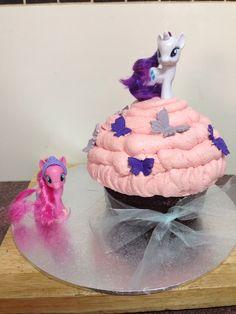 My Little Pony giant cupcake. Chocolate mudcake with strawberry icing.