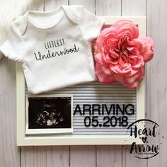 Personalized Baby Announcement Bodysuit | Newborn Announcement / Pregnancy Reveal / Maternity Photography / Photo Prop / Bodysuit ONLY by HeartandArrowBtq on Etsy https://www.etsy.com/listing/551356915/personalized-baby-announcement-bodysuit