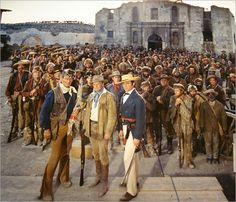 THE ALAMO (1960) - Group shot of the cast - Directed by John Wayne - United Artists - Publicity Still.
