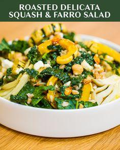 Roasted Delicata Squash And Farro Salad Recipe by Tasty Roasted Veggie Salad, Farro Salad, Salad Bar, Soup And Salad, Vegetarian Roast, Vegetarian Recipes, Cooking Recipes, Healthy Recipes, Healthy Meal Prep