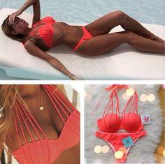 Caliente Bikini in coral