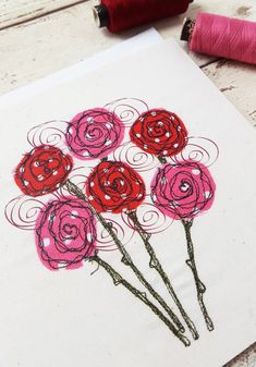 This happy card is taken from an original freehand machine embroidered picture of a bunch of polka dot roses. This professionally printed card captures the beautiful wobbly quality of the machine embroidered lines. You can still see the frayed edges of the fabric, the texture of the calico