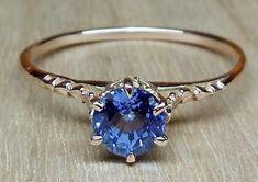 Vintage Antique 1.0ct Blue Sapphire 14k Rose by DiamondAddiction, $599.00