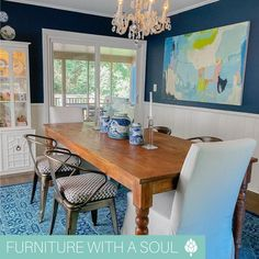 Dining Table $455 We are obsessed with these beautiful blues and crisp whites! Share your style and tag @NadeauFurniture in your next soulful design 🤳 📷: @alexiswarrendesigns A Table, Dining Table, Nadeau Furniture, Dining Decor, Your Style, Inspiration, Design, Home Decor, Biblical Inspiration