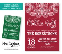 Rustic Christmas Party invitation. Paisley by NineEighteenHolidays