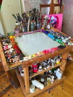Deco studio, my art studio, art studio design, painting studio, art Home Art Studios, Art Studio At Home, Artist Studios, Rangement Art, Art Atelier, Art Studio Organization, Organization Ideas, Art Studio Storage, Paint Organization