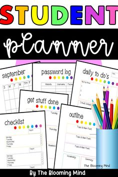Keep your students organized with this colorful rainbow planner! This student planner includes over 40 printable pages for planning, note taking, assignments, and staying organized! Create your own planner or bullet journal by using as many pages as you need, or use these in your students' take home folders. This planner is perfect for home school, upper elementary, or middle school students. #classroomorganization #studentplanner #bulletjournal #planner #printableplanner #homeschool