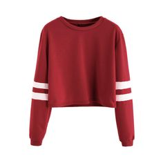 SheIn(sheinside) Burgundy Varsity Striped Sleeve Crop T-shirt ($9.99) ❤ liked on Polyvore featuring tops, t-shirts, burgundy, striped t shirt, crop top, long sleeve tops, red t shirt and long sleeve crop top