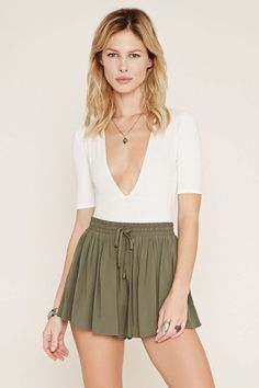 Drawstring High-Waisted Shorts
