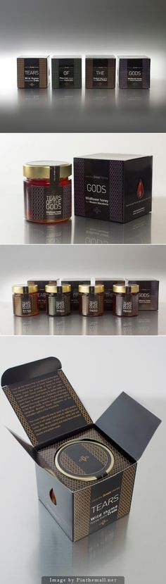 """Tears Of The Gods by The Brand House. The packaging looks high end and I like how they used the illustration of tears to visualize their title """"Tears of the Gods"""". I personally like the packaging that has gold colored tears on black box, since this box shows the richness of honey and gives the product a very elegant look."""
