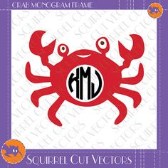 Crab Monogram Frame SVG DXF EPS Cutting file by SquirrelCutVectors